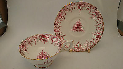 Antique Coalport 9248 Pink Seaweed With Seashell Decor