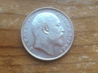 "1906 India silver rupee "" King Edward VII  type"" sharp detail must see"