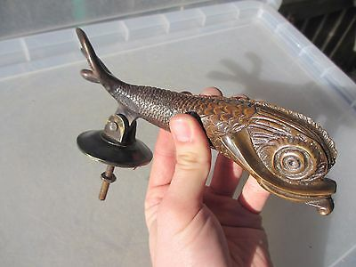 Vintage Brass Fish Door Knocker Oriental Asian Koi Carp Chinese Japanese Old