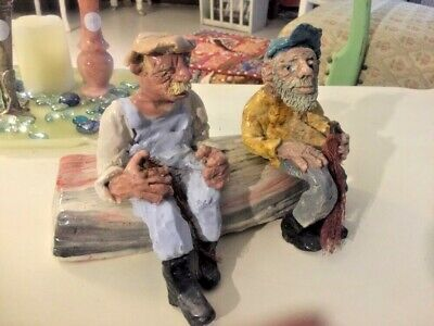 Fisherman And Boat Hand Made Ancient Pottery Statue Clay Art Work