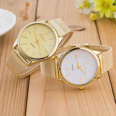 New Geneva Women Fashion Gold Silver Stainless Steel Mesh Analog Quartz Watch UK