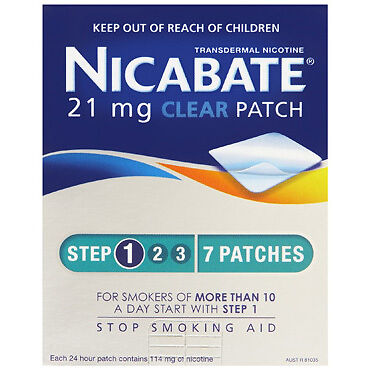 Nicabate CQ Clear 21mg Patches 7 NEW Cincotta Chemist