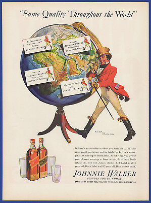 Vintage 1937 JOHNNIE WALKER Black Red label Scotch Whisky Alcohol Print Ad