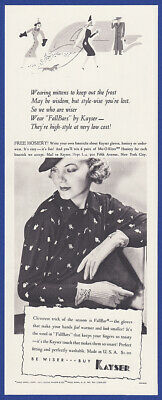 Vintage 1937 KAYSER Fallbars Gloves Women's Fashion Print Ad 1930's