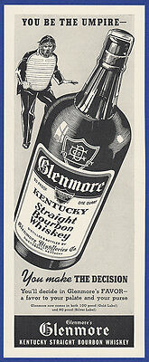 Vintage 1937 GLENMORE Bourbon Whiskey Alcohol Sports Bar Print Ad 1930's