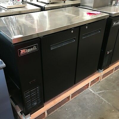 "New 48"" Two Solid Door Back Bar Beer Cooler Migali C-BB48 #3714 Commercial NSF"