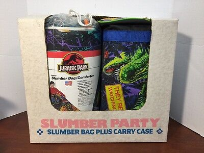 1992 Jurassic park indoor slumber bag/ comforter + Carry Case Made In USA