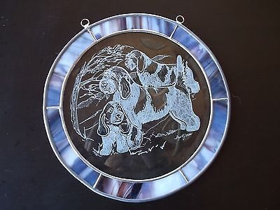 PBGV- Beautifully hand engraved round panel by Ingrid Jonsson