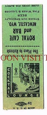 Royal Cafe & Bar Cocktail Lounge Newcastle Wyoming Matchcover
