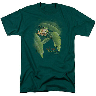 Wild Wings Wildlife RED EYED TREE FROG Licensed Adult T-Shirt All Sizes