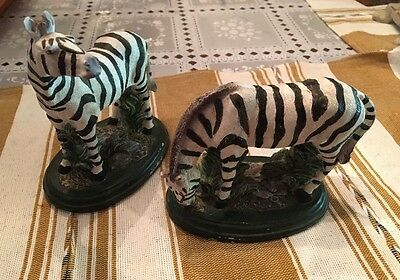 Wildlife African Safari ZEBRA Resin Animal Figurine - set of 2