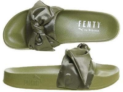 pretty nice b38a5 acd7a PUMA FENTY BOW Olive Green Satin Ribbon Rihanna Slides Sliders Womens  365774 01