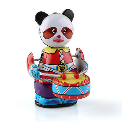 Vintage Collectible Gift Retro Style Wind Up Panda Drummer Tin Toy w/ Key