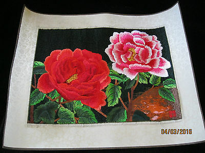 Chinese Asian Artist Hand-Stitched Floral Embroidery Picture Wall Hanging