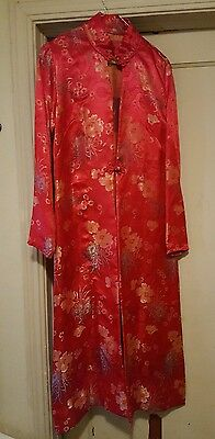 Red gold Metalic Asian  Style long Gown robe dress kimono hand made tunic