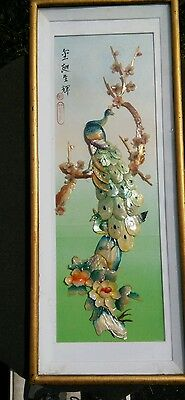 "Asian Shell Art 31.5"" X 12.5"" Carved 3D Peacocks Flowers Vintage Frame Signed"