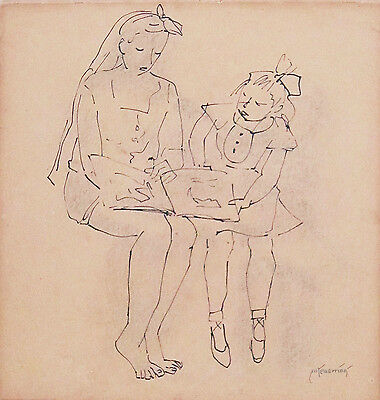 MAXIMILLIAN FEUERRING (1896-1985) Original Ink Drawing Mother & Child 1960