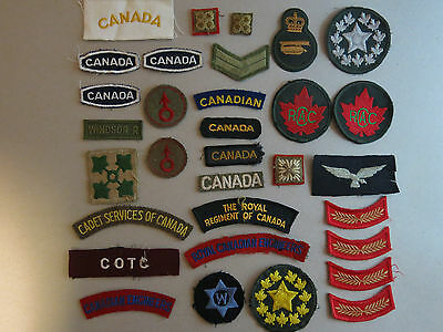 Job Lot of (32) old Military Patches etc. CANADA....(3-17)