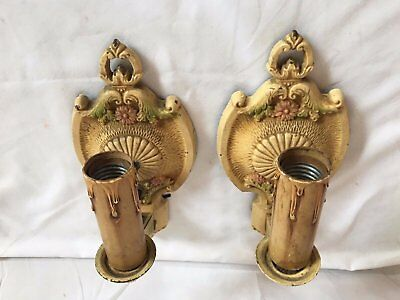 Pair Antique Sconce Wall Light Old Vtg Shabby Victorian Floral Polychrome 54-17J