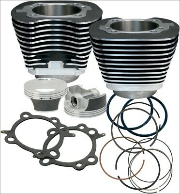 """S&S Cycle 97"""" CI Big Bore Cylinder Kit Black 9.7:1 Compression 99-06 Harley"""