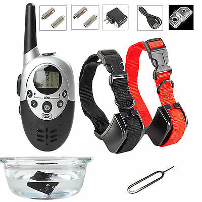 1000 Yard LCD Remote Rechargeable Waterproof Dog Training Shock Collar 2 Collar