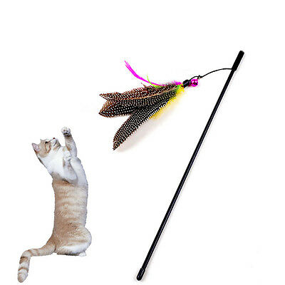 Kitten Cat Teaser Interactive Children Toy Dangler Rod with Bell and Feather