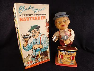 Vintage 1962 Charlie Weaver Battery Operated bartender With Box WORKS PERFECT!!