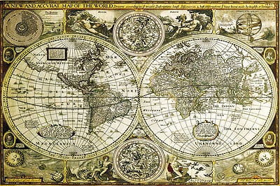 """OLD WORLD MAP laminated POSTER """"LICENSED"""" BRAND NEW """"61 cm x 91.5 cm """"ANTIQUE"""""""