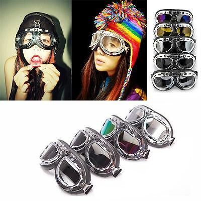 New Motorcycle Bike Glasses Scooter Aviator Cruiser Helmet Pilot Goggles AU