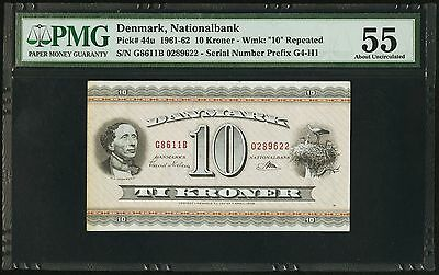 Series 1961-62 Denmark 10 Kroner National Bank PMG AU55 (Pick# 44u)