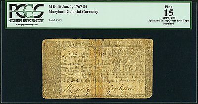 1/1/1767 Colonial Maryland $4 PCGS F15 Apparent (Fr. MD-46)