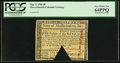 5/5/1780 Colonial Massachusetts $8 PCGS Very Choice New 64 Premium Paper Quality