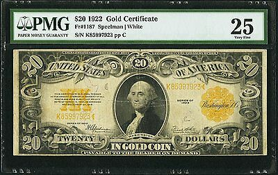 1922 United States of America Gold Certificate $20 PMG VF25 (Fr. 1187)