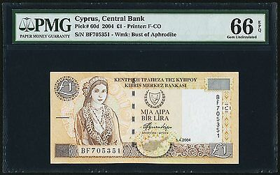 2004 Cyprus £1 PMG Gem Uncirculated 66 Exceptional Paper Quality (Pick# 60d)