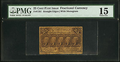 Series 1st Issue USA Fractional Currency 25c Straight edge PMG F15 (Fr 1281)