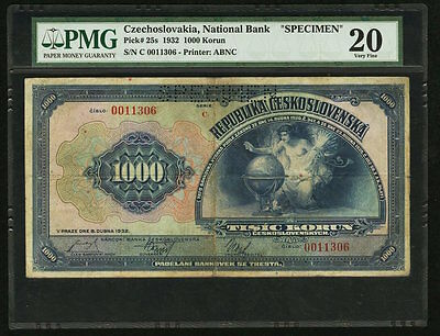 1932C Czechoslovakia 1,000 Korun National Bank Specimen ABNC PMG VF20 (Pick 25s)