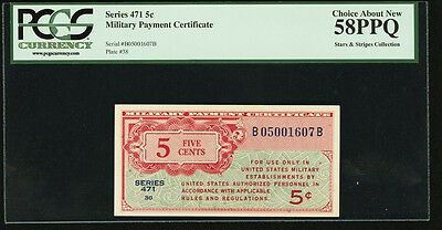 Series 471 USA Military Payment Cert 5c Stars & Stripes PCGS AU58 PPQ