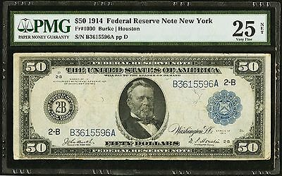 1914 USA Federal Reserve Note $50 Federal Reserve PMG VF25 NET (Fr 1030)