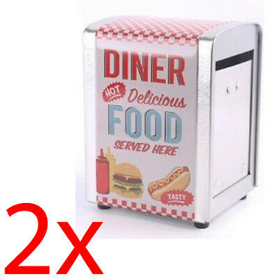 2 X Retro Napkin Dispenser Kitchen Bar Restaurant Party Diner Table Kitchen New