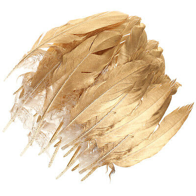 24x Gold Natural Goose Feather for Millinery DIY Art Craft Party Home Decor