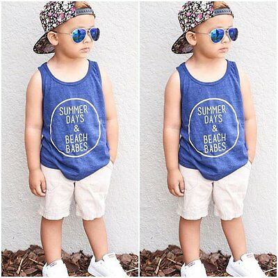 2pcs Toddler Kids Baby Boy T-shirt Tops+Beach Pants Summer Outfits Clothing Set