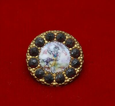 Delightful RARE Antique French Enamel Hand Painted Gilt/Steel 1.5cm Button