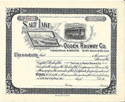 Salt Lake And Ogden Railway Company......unissued Stock Certificate