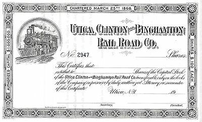 Utica, Clinton And Binghamton Rail Road Co....unissued Stock Certificate