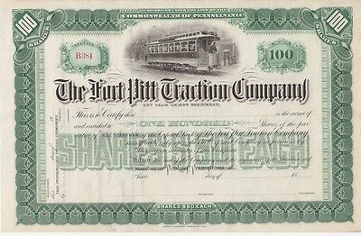The Fort Pitt Traction Company.....unissued 1800's Stock Certificate