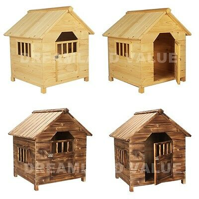 Solid Fir Wooden Dog Kennel Outdoor Pets Large Shelter House Puppy Proof Home