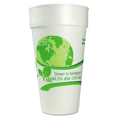 Vio Biodegradable Cups, Foam, 24 oz, White/Green, 300/Carton