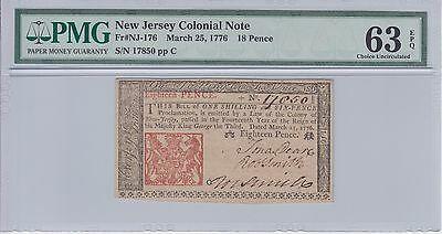 1776 New Jersey Colonial Currency 18 pence PMG 63 EPQ choice uncirculated