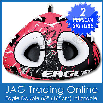 "EAGLE 65"" X-LARGE 2 PERSON INFLATABLE WATER SKI TUBE/BISCUIT- Twin Delta Towable"