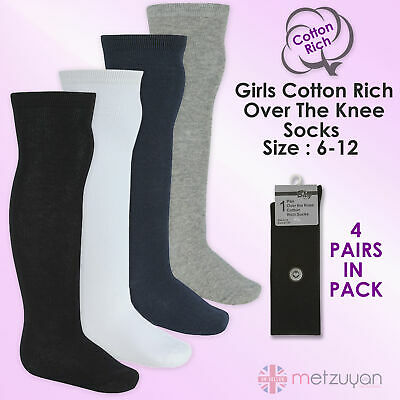 BAY 6 Kids Childrens Girls School Socks 4 Pairs High Over The Knee Cotton Rich